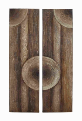 Wooden Wall Art with Intricate Aesthetic Design 2 Assorted - 85990 by Benzara
