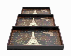 Wood Trays With A Persian Touch - Set Of 3 - 54194 by Benzara