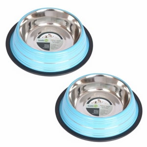 2 Pack Color Splash Stripe Non-Skid Pet Bowl for Dog or Cat - Blue - 16 oz - 2 cup