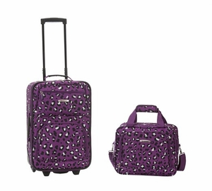 2 Pc Purpleleopard Luggage Set