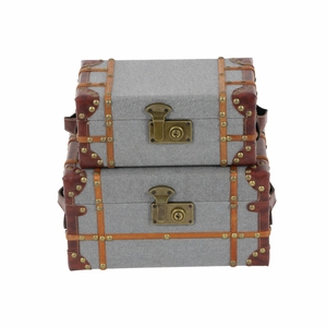 2 Piece Ethan Wood Fabric Box Set - 54072 by Benzara