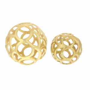 2 Piece Ornamental Aluminum Sphere Set - 68979 by Benzara