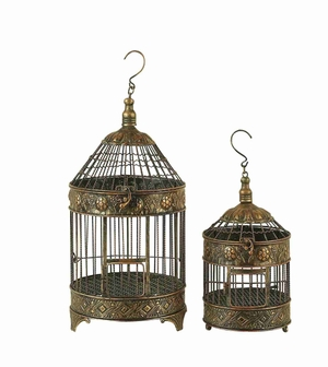 METAL BIRD CAGE S/2 GARDENDecorATIVE ITEM - 90533 by Benzara