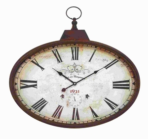 Metal Wall Clock Design in Rustic and Unique Pattern - 66973 by Benzara