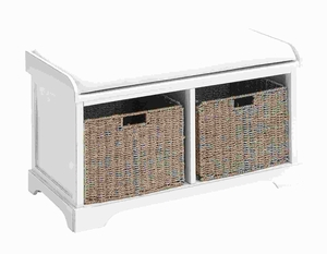 Wood Basket Bench with Huge Storage Capacity in White Color - 96192 by Benzara