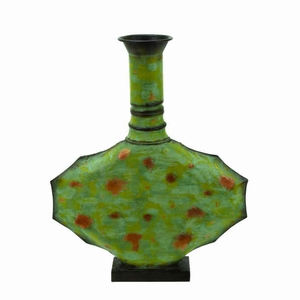 Contemporary Metal Vase Green With Timeless Design  - 35092 by Benzara