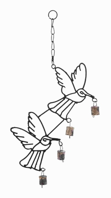 High Quality Metal Bird Wind Chime With Curvy Base - 26740 by Benzara