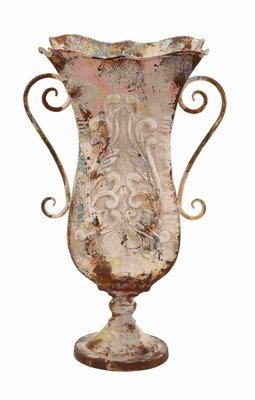 Durable Metal Vase With Antique Magnificence - 52779 by Benzara