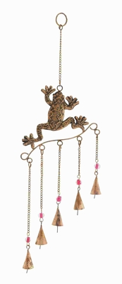 Metal Frog Wind Chime With Copper Finished Design - 26781 by Benzara