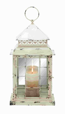 "22"" H Classic Metal Glass Lantern with Antique Styled Design  - 34904 by Benzara"