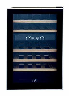 24-bottle Dual-Zone Thermo-Electric Wine Cooler  With Wooden Shelves