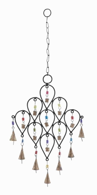 Metallic Bell Wind Chime With Unique Pattern Design - 26733 by Benzara