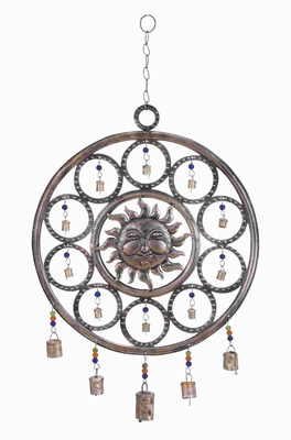 Durable And Rustproof Metal Sun Wind Chime Sun Design - 26756 by Benzara