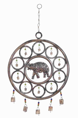 Durable Metal Wind Chime With An Elephant Themed Design - 26758 by Benzara