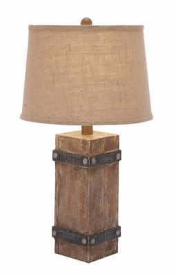 Benzara 85985 26H Classy Wooden Table Lamp With