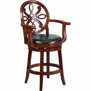 26'' High Cherry Wood Counter Height Stool with Arms and Black Leather Swivel Seat