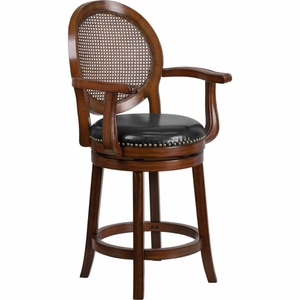 26'' High Expresso Wood Counter Height Stool with Arms and Black Leather Swivel Seat