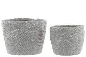 28599 Ceramic Uneven Pots Set of Two Dimpled - Light Gray