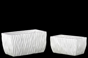 28607 Ceramic Pots Set of Two Rippled - White
