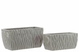 28608 Ceramic Pots Set of Two Rippled - Light Gray