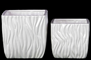 28609 Ceramic Pots Set of Two Rippled - White