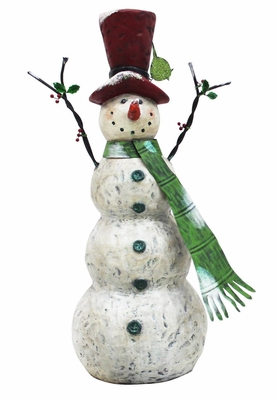 """30"""" Christmas Tall Snowman with Green Scarf"""