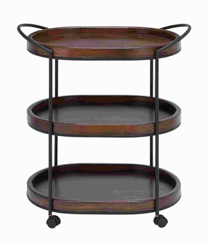 "30""H Metal Wooden 3 Tier in Dark and Natural Wood Finish  by Benzara"