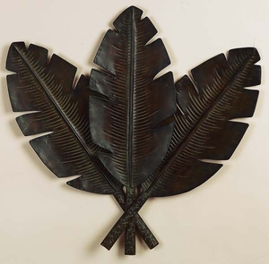 Metal Palm Wall Decor With 3 Distress Palm Leaves - 22942 by Benzara