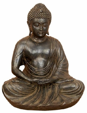28 INCHES WIDE POLYSTONE BUDDHA GRAY  BROWN - 75494 by Benzara
