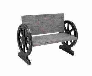 Solid Wood Bench with Weight Bearing Wheel Shaped Legs - 85977 by Benzara