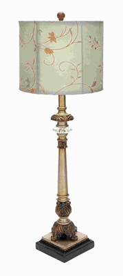 Metal Buffet Lamp with Beige Colored Shade - 97316 by Benzara