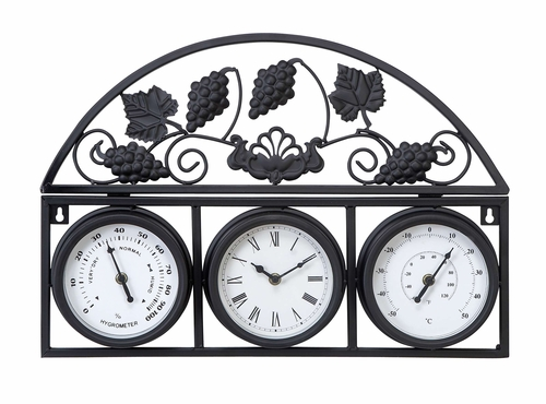 benzara 35416 metal outdoor clock with thermometers. Black Bedroom Furniture Sets. Home Design Ideas