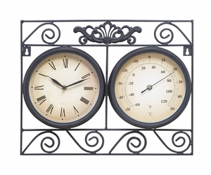 Metal Outdoor Clock Thermometer With Different Dials - 35417 by Benzara