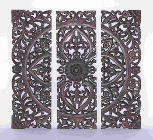Modern Wood Wall Panel With Dark Finish Set Of 3 - 14404 by Benzara