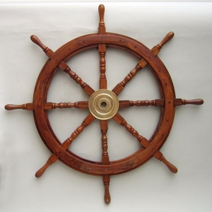 """36"""" Wooden Ship Wheel With Brass Hub And 8 Spokes Brand IOTC"""