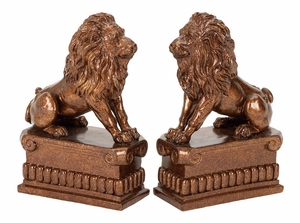 Polystone Lion Bookend Pair Unique Table And Shelfdecor With Utility - 36421 by Benzara