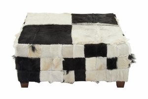 37792 Wood Hide Large Square Ottoman - 37792 by Benzara