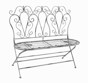 Metal Love Chair with Foldable Adjustment and Carving - 96910 by Benzara