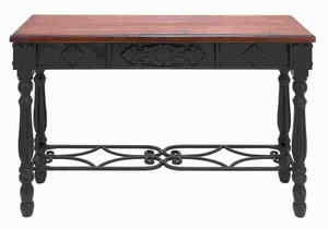 Wood And Metal Desk Durability With Rich Mahogany Color - 52788 by Benzara