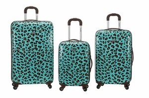 3Pc Blue Leopard Polycarbonate/Abs Upright Luggage Set