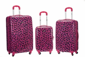 3Pc Magenta Leopard Polycarbonate/Abs Upright  Luggage Set