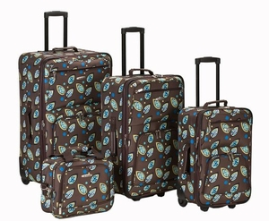 4 Pc Brown Leaf Luggage Set