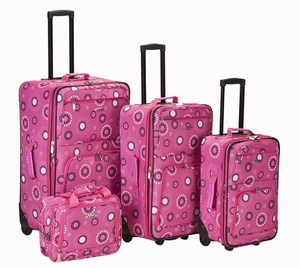 4 Pc Pink Pearl Luggage Set