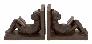 POLYSTONE BOOKEND PAIR IN BROWNISH- GRAY TONE - 44657 by Benzara