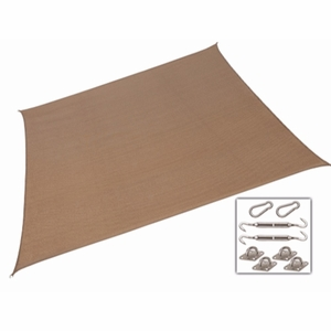 California Sun Shade Shade Sail Kit Right Triangle 15fr x 12ft x 9ft Walnut