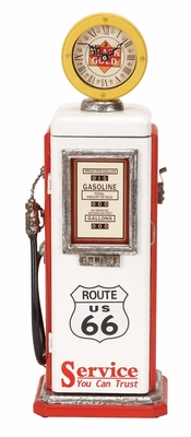 WOOD GAS PUMP CLOCK RED AND WHITE - 49767 by Benzara