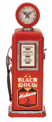 WOOD GAS PUMP CLOCK RED FOR TIME TRACK - 49768 by Benzara