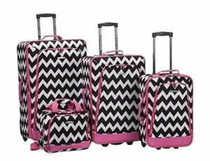 4Pc Pink Chevron Luggage Set