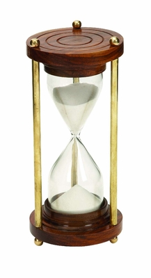 Wood Timer With Brown Wood Base And Brass Finish Rods - 30676 by Benzara