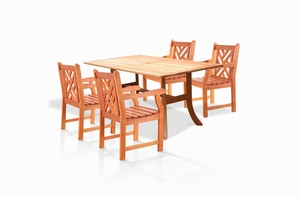 V187SET2-5-Piece Outdoor Eucalyptus Dining Set by Vifah